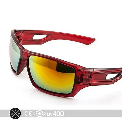 Red Clear Designer Sunglasses Outdoor Sports Rectangular Wrap Mirrored Lens S226