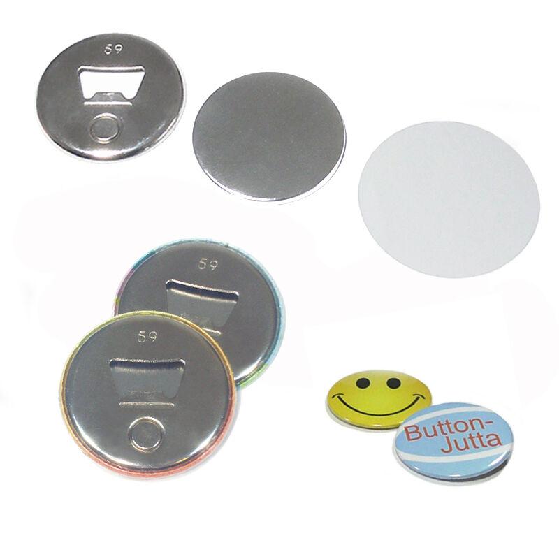 100 Stück 59mm Buttonrohlinge mit Flaschenöffner und Magnet - für 59mm Buttons