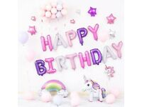 Multiple Unicorn Happy Birthday Balloons Package Party Decoration