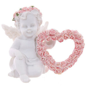 White Cherub Angel Figurine Pink Glitter Rose Heart Ornament Fairytale Gift