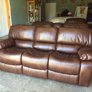 3 piece Dark brown leather sofa set