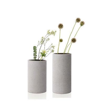 blomus Design 2 Stück Vase COLUNA 65595 S + 65596 M hellgrau Polyresin GESCHENK (Moderne Vase Und Geschenk)