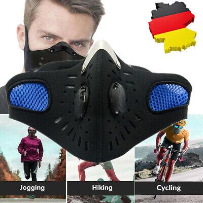 Maske Mundschutz mit 2 Ventils & Aktivkohle Filter Waschbar Schutzmasken Blau DE