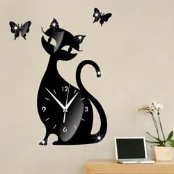 Wall Clock Black Cat Mirror Sticker Modern Watch Self Adhesive Home Decorations