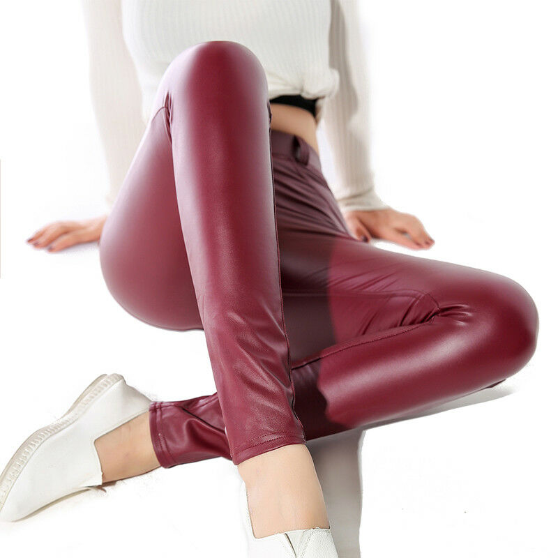 Women Sexy PU Leather Yoga Pants Hip Push Up Workout Stretch Leggings Trousers 24