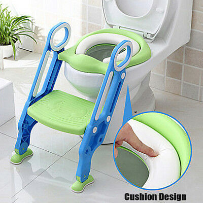 - Trainer Toilet Potty Soft Padded Seat Chair Kids Toddler + Ladder Step Up Stool