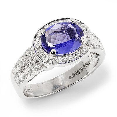 Ctw Diamond Tanzanite Gold Jewelry - Sideways Oval Tanzanite Halo Ring with Diamonds 14K White Gold 3.00ctw East West