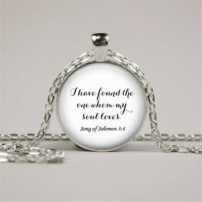 Song Of Solomon 3 (Bible Quote Pendant, Song Of Solomon 3:4 Necklace, Silver Pendant Chain)