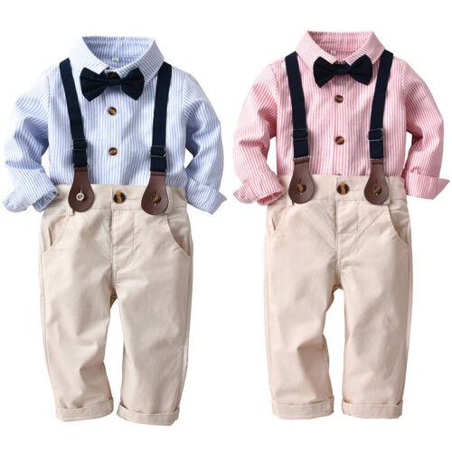 Kinder Baby Jungen Gentleman Hemd Hosen Denim Bogen Outfit Partyanzug GeschenkDE