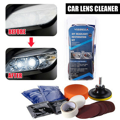 Visbella Car Vehicle Motorcycle Headlight Lamp Lens Cleaning Restoration Kit DIY