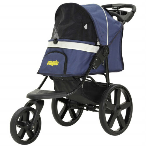 Folding Pet Strollers 3 Wheels Dog Stroller Traveling Cart W/ Storage Basket New