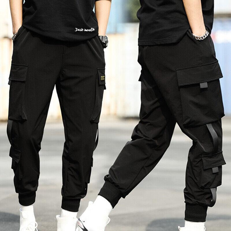 Men Tactical Street Cargo Black Fashion Trousers Harem Hip Hop Pants Joggers