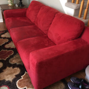 Red Faux Suede Couch