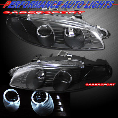 Set of Black Dual Halo Projector Headlights for 1997-1999 Mitsubishi Eclipse