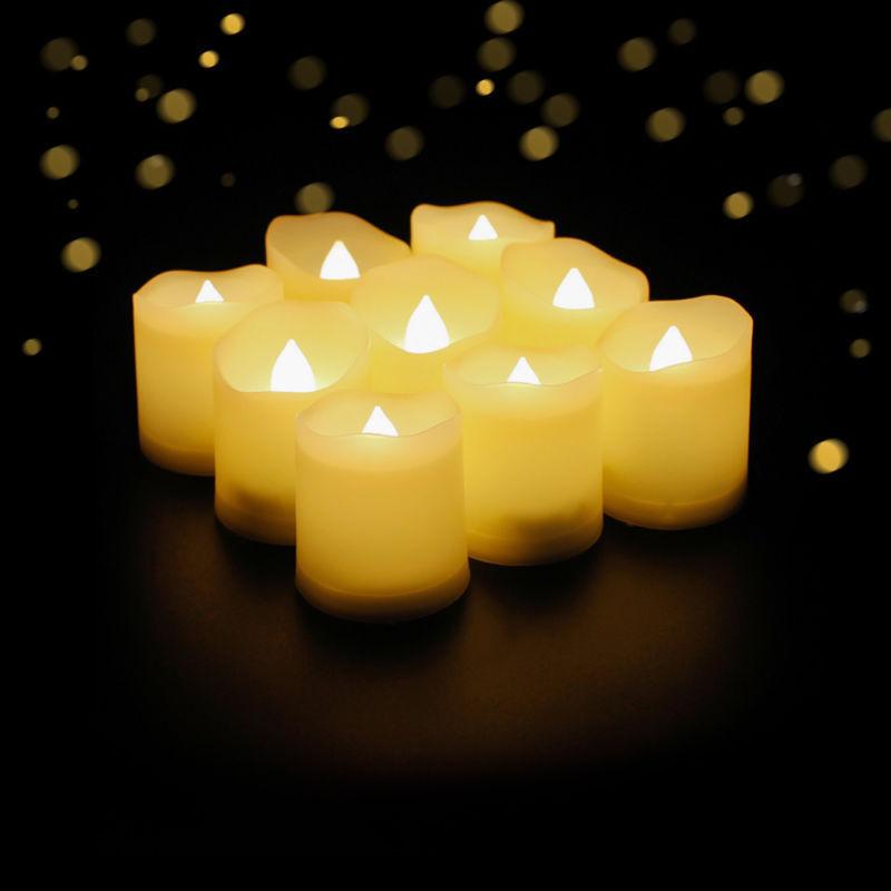 9er LED Kerzen mit Timerfunktion Teelichter Flame LED Lichter Xmas Warmweiß Deko