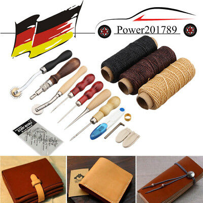 14tlg Leder Werkzeug Ledernadeln Lederhobel Nähen Locher Stechahle Stitching Set