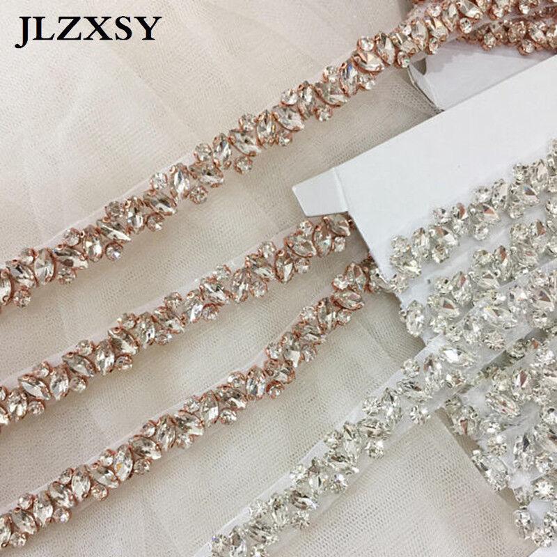 Thin Rhinestone Crystal Applique Trim For Wedding Bridal Sash Bridesmaid Belt