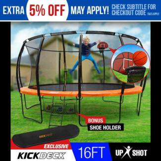 NEW 16ft Round Trampoline Basketball Set Safety Net Pad Spring AU