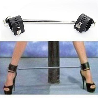 Pu Leather Stainless Steel Bondage Leg Spreader Bar Ankle Locks 2 Padlocks