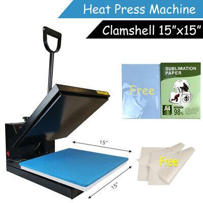 15x15 Clamshell Heat Press Transfer Machine Digital 110pcs Sublimation Paper