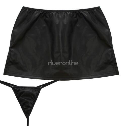 196c7eb05f47 Details zu Damenrock Leder-Optik Minirock Kurz Micro Mini Rock mit Panties  Dessous Schwarz