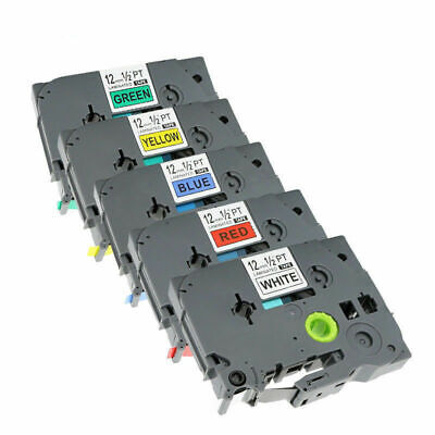 5 Colors Compatible Label Tape For Brother P-touch 12mm Tze231 Tze631 Pt-h110