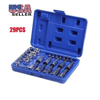 (29PCS Male Female Torx Star Socket & Bit Set E & T Sockets w/ Torx Bits Tool US)