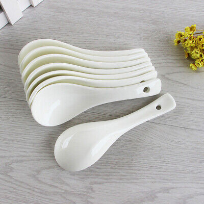 White Soup Spoons Simple Style Porcelain Ceramics Spoon Tableware 4 (Style Tableware)