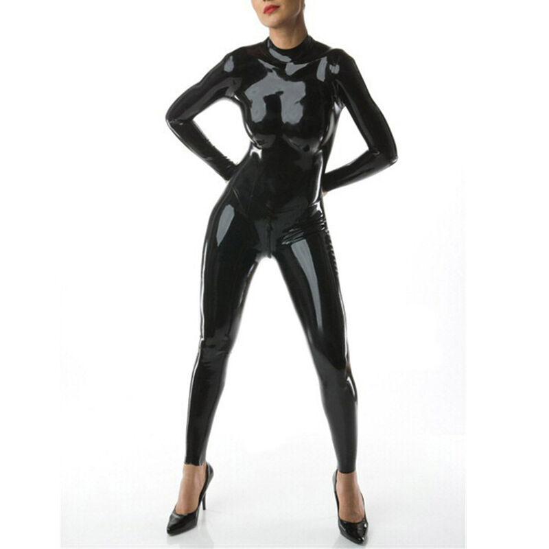 Sexy Women Latex Rubber Bodysuits With Back Zipper Fetish Jumpsuit Gummi 0.4mm