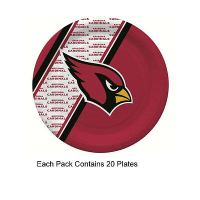 New 20pc NFL Disposable Party Supplies Paper Plates Arizona Cardinals