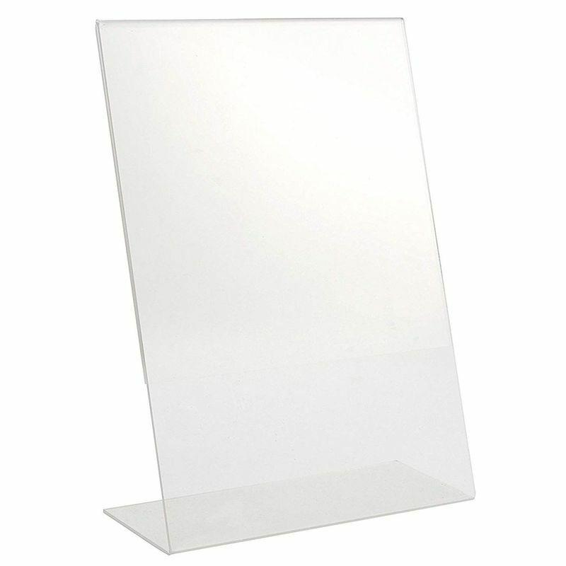 Acrylic Sign Holder Slant Back Stand for Title Display Ad Frame Home Letter Size