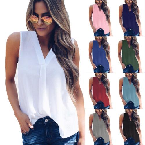 Damen Chiffon Bluse Tanktop Trägertop Reißverschluss V-Ausschnitt T-shirt Weste
