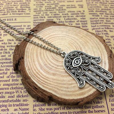 Good Luck Protection Hamsa Symbol Fatima Hand Evil Eye Pendant Chain Necklace EP Hamsa Hand Protection