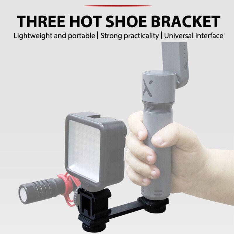 3 in 1 Triple Hot Shoe Mount Adapter Extension Bracket Holder Microphone St Y1