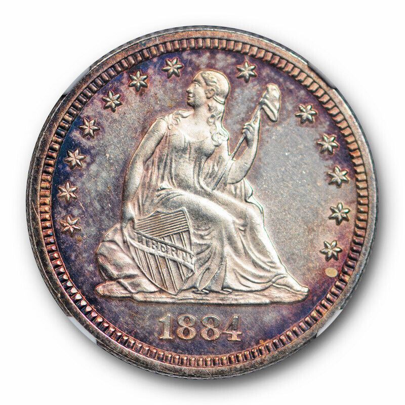 1884 Seated Liberty Quarter 25C NGC MS 63+ Uncirculated Toned Beauty
