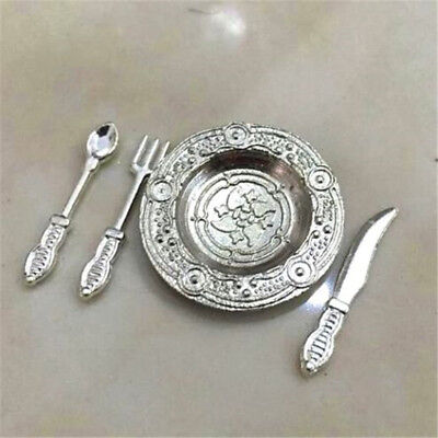 1:12 Dollhouse Miniature 4Pcs Spoon Knife Fork Plate For Kitchen Room Scene \