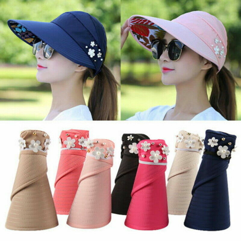 Women Ladies Wide Brim Cap Summer Casual Foldable UV Protection Sun Visor Hat Clothing, Shoes & Accessories