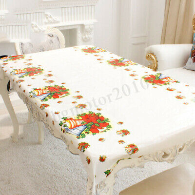 Table Cloth Rectangle Oblong Tableware Disposable Cover Festive Christmas  - Christmas Table Cloth