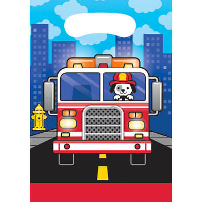 Flaming Fire Truck Loot Bags (8) - Birthday Party Supplies - Fire Truck Birthday Supplies