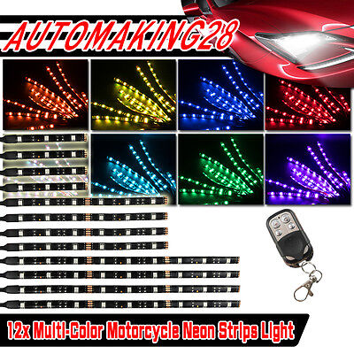 12x HD LED Neon Under Glow Lights Strip Kit For ALL Harley Davidson Motorcycles
