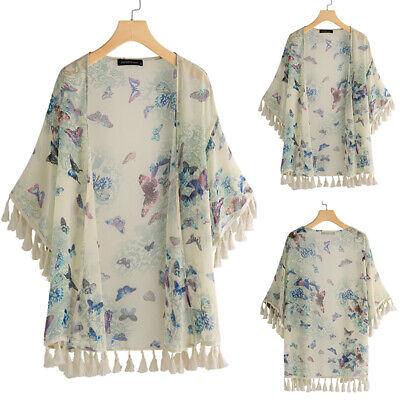 - ZANZEA Women Floral Print Tassels Kimono Cardigan Jacket Coat Sun Smock Suit