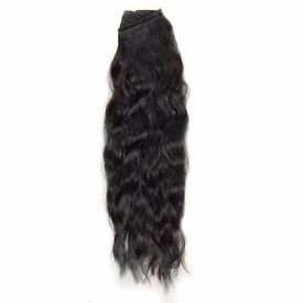 Afro Loose Wave Hair Extension Weave On - 18 Inch Color #1B Off Black