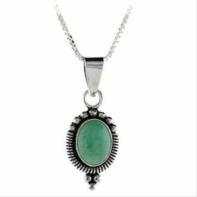 - 925 Silver Variscite Bali Bead Oval Pendant, 18