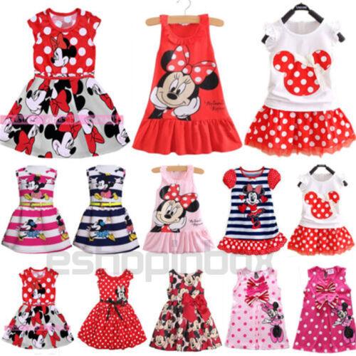 Baby Mädchen Kleid Minnie Mouse Partykleid Mini Kleider Sommer Freizeitkleid Neu