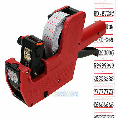 Mx-5500 8 Digits Price Tag Gun 5000 White W Red Lines Labels 1 Ink Us Ship