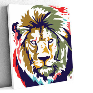 Abstract Lion Original 48X36 Acrylic Painting 1/1