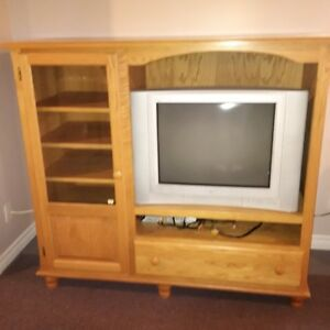oak tv stand and tv
