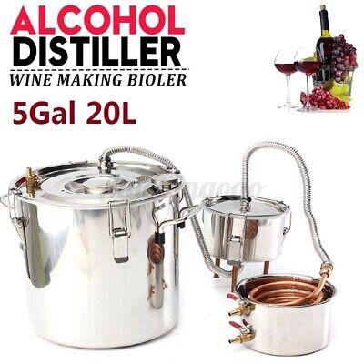 5Gal 20L Alcohol Distiller Brewing Kit Moonshine Still Copper Wine Boiler Home