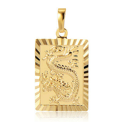 Womens Couple Dragon Pendant Yellow Gold Filled Fit Long Necklace
