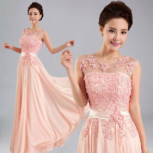 Beautiful-Pink-Long-Formal-Evening-Prom-Party-Dress-Bridesmaid-Dresses-Ball-Gown